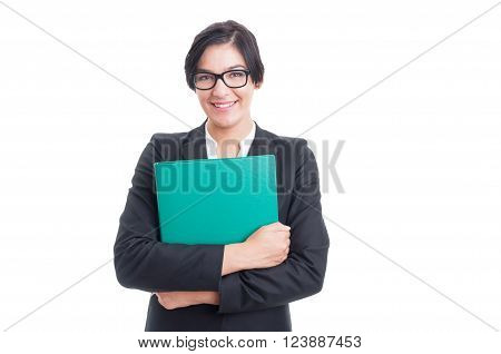 Happy And Friendly Woman Holding A File Folder