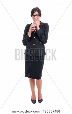Full Body Of Business Woman Drinking Healthy Juice