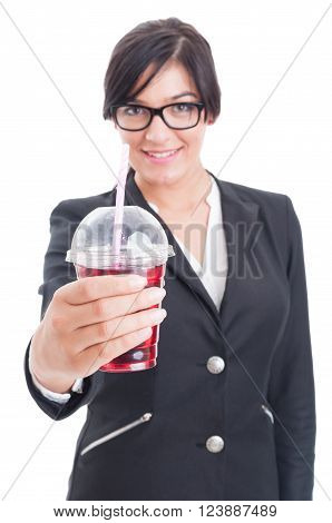 Elegant And Friendly Woman Offering Healthy Red Juice