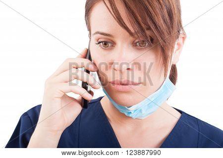 Beautiful Woman Doctor Talking On The Phone