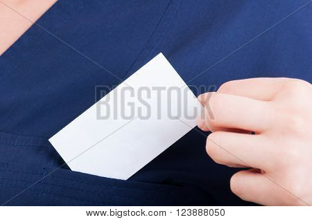 White Or Blank Card With Copy Space In Doctor Pocket