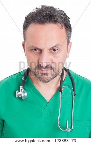 Face Portrait Of A Young Serious Doctor