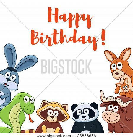Happy birthday card with cute cartoon animals isolated on white background. Vector illustration of adorable plush baby animals.