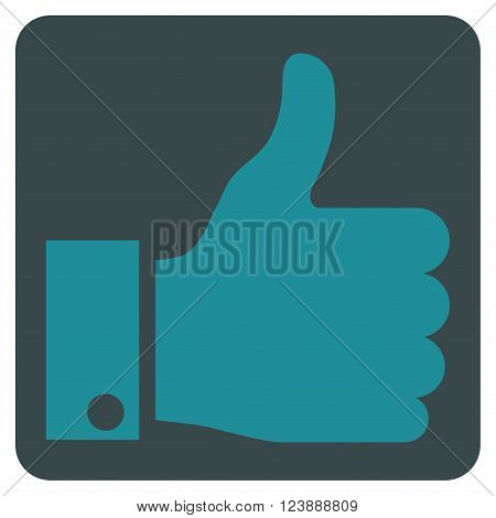 Thumb Up vector icon symbol. Image style is bicolor flat thumb up icon symbol drawn on a rounded square with soft blue colors.