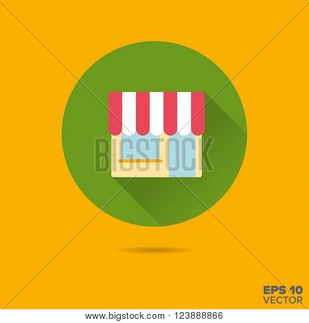 shop front with awning flat design long shadow vector icon