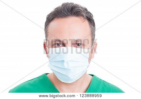 Headshot Or Portrait Of A Man Doctor Wearing Surgeon Mask