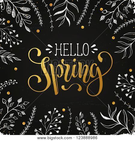 Hello spring lettering with white leaves hand drawn on chalkboard. Spring time wording. Modern calligraphy for greeting card design.