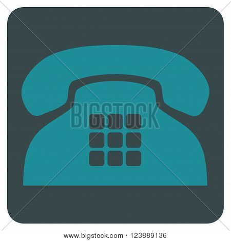 Tone Phone vector icon. Image style is bicolor flat tone phone icon symbol drawn on a rounded square with soft blue colors.