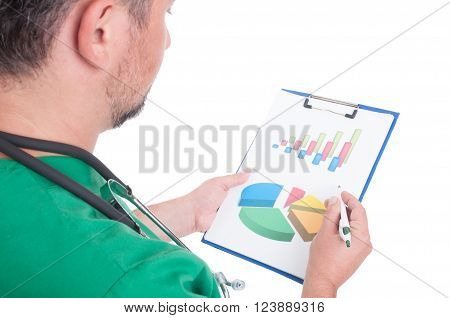 Doctor Analyzing Charts On Clipboard