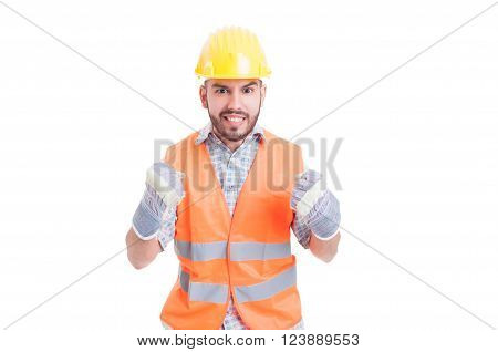 Excited And Enthusiastic Construction Worker