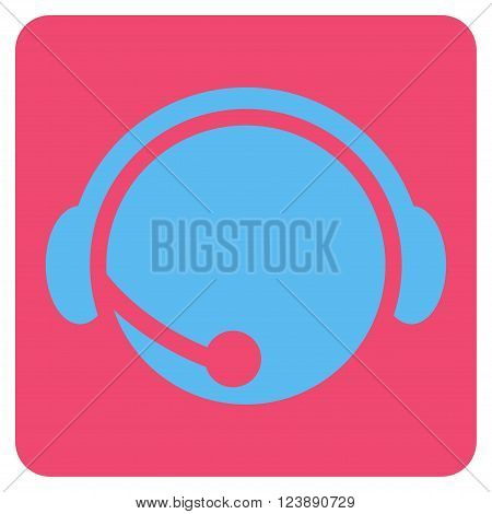 Call Center Operator vector icon symbol. Image style is bicolor flat call center operator icon symbol drawn on a rounded square with pink and blue colors.
