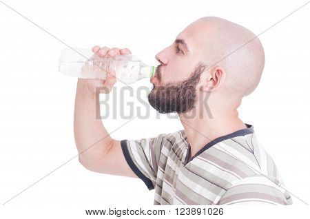 Guy Drinking Water From Plastic Bottle