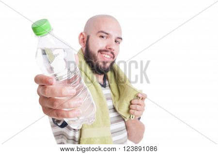 Man offering solution for dehydration as summer heat concept isolated on white