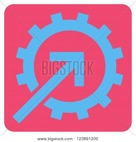 Cog Integration vector pictogram. Image style is bicolor flat cog integration iconic symbol drawn on a rounded square with pink and blue colors.