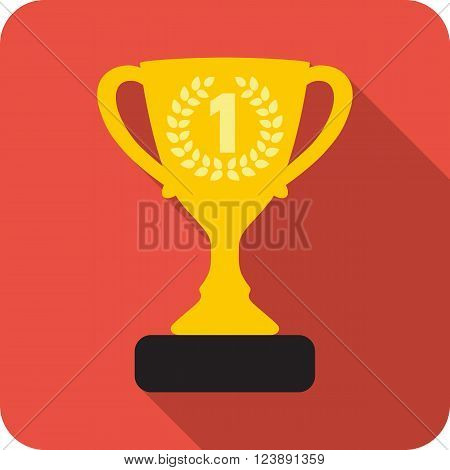 Trophy cup with long shadow in flat style. Icon gold goblet, medieval goblet. Flat symbol cup champion. Isolated cup prize, cup winner.