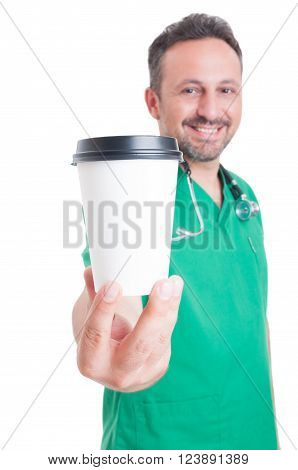 Male doctor holding a coffee to go cup. Lunch or coffee break concept