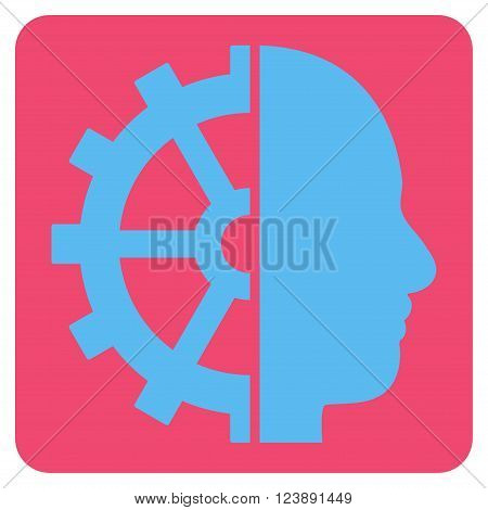 Cyborg Gear vector icon symbol. Image style is bicolor flat cyborg gear pictogram symbol drawn on a rounded square with pink and blue colors.