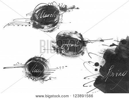Set of names of spring month: march april may drawn by hand with liquid ink dye in freehand style. Large raster illustration grainy stylish with blobs and brush smears isolated on white.