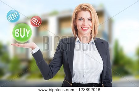 Woman real estate agent holding buy sell and rent offers on residential house background