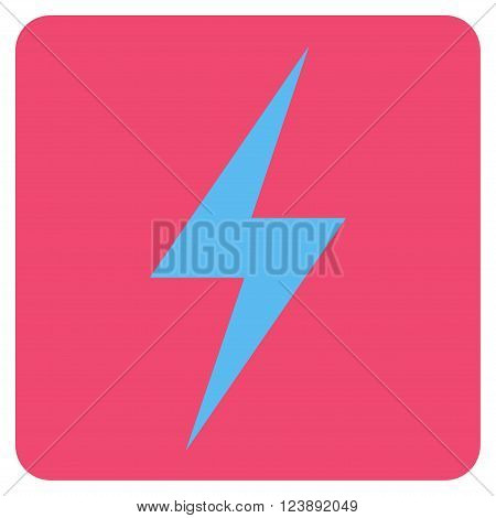 Electricity vector symbol. Image style is bicolor flat electricity pictogram symbol drawn on a rounded square with pink and blue colors.