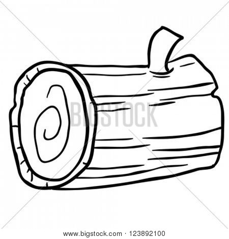black and white wood log cartoon illustration