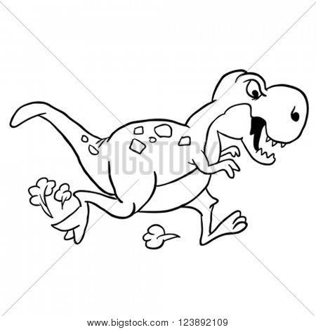 black and white dinosaur cartoon