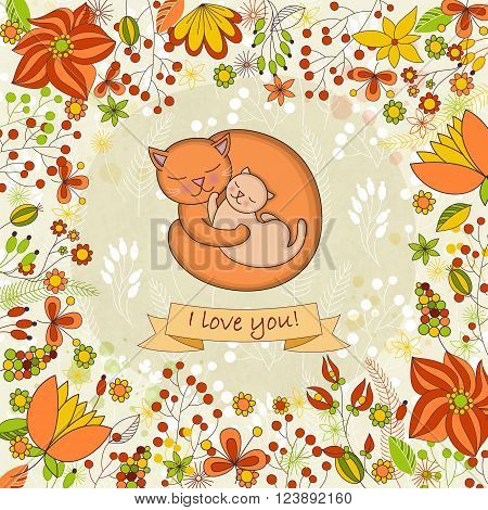 Vector cute card for Happy mothers day. Background with floral frame and Mother's hugs. Cute cats - mom and kitten.