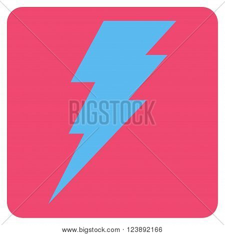 Execute vector icon symbol. Image style is bicolor flat execute icon symbol drawn on a rounded square with pink and blue colors.