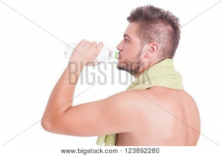 Side View Of Man Drinking Water As Summer Dehydration Concept