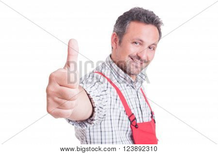 Mechanic Or Plumber Showing Like Or Thumb-up Gesture