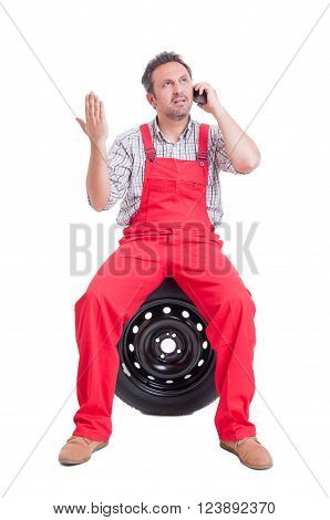 Mechanic Arguing On The Phone