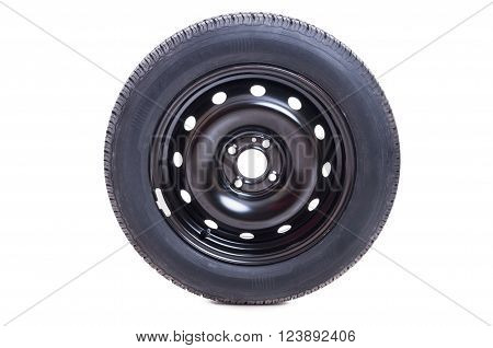 Car wheel with rim and tire isolated on white studio background