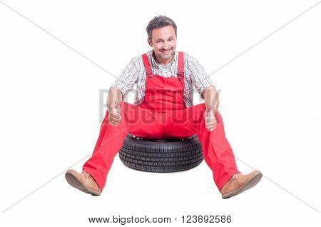 Handsome And Excited Mechanic Showing Like Or Thumbs-up