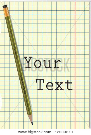 Pencil And Open Blue Notebook.Eps