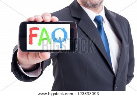 FAQ or frequently asked questions on smartphone hold by businessman isolated on white