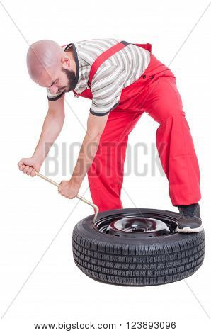 Busy Vulcanization Mechanic Changing Car Tire