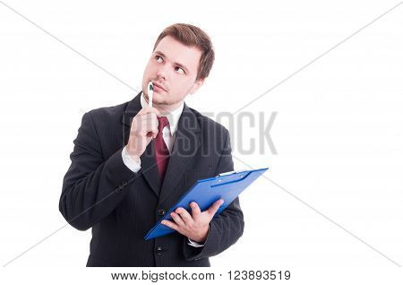 Smart Accountant Or Financial Manager Holding Clipboard And Thinking