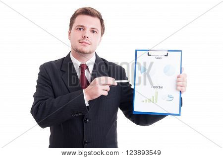 Confident sales manager showing chartpie or marketing results chart on a clipboard