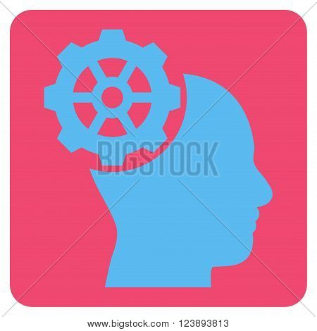 Head Gear vector icon symbol. Image style is bicolor flat head gear iconic symbol drawn on a rounded square with pink and blue colors.