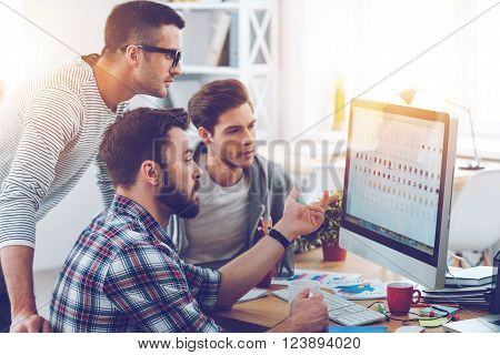 Discussing new project. Three young business people discussing something while looking at the computer monitor together
