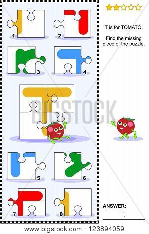 What's missing? Visual educational puzzle to learn with fun the letters of English alphabet: letter T (T is for tomato). Answer included.