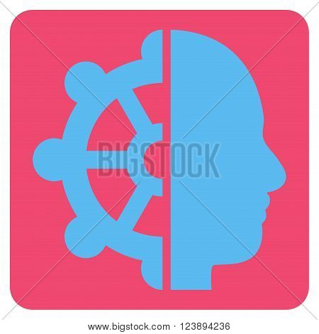 Intellect vector symbol. Image style is bicolor flat intellect pictogram symbol drawn on a rounded square with pink and blue colors.