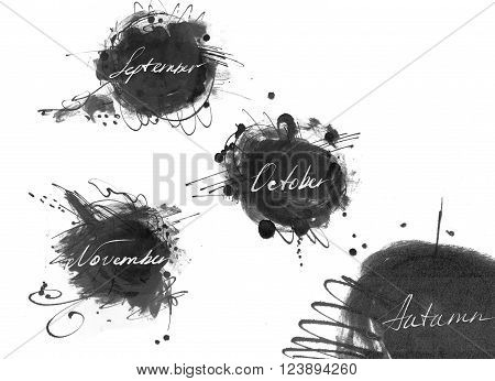 Set of names of autumn month: september october november drawn by hand with liquid ink dye in freehand style. Large raster illustration grainy with blobs and brush smears isolated on white.