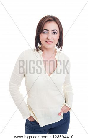Normal Average Woman Wearing Casual Clothes And Make-up