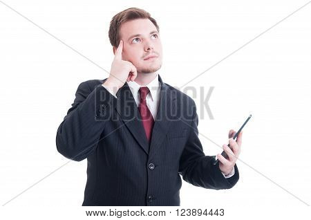 Smart Banker Holding Tablet And Thinking