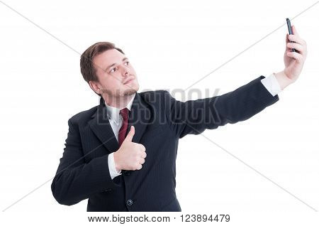 Business Person Taking A Selfie And Showing Like