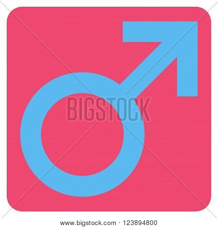 Male Symbol vector icon. Image style is bicolor flat male symbol icon symbol drawn on a rounded square with pink and blue colors.