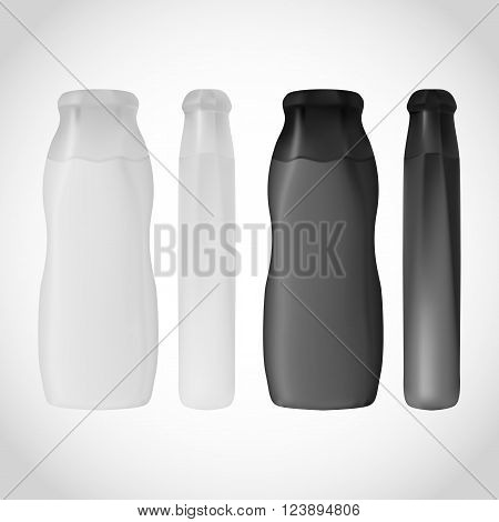 Shampoo Bottle isolated on white background for design. Black and White colors of container. Hair shampoo or gel.