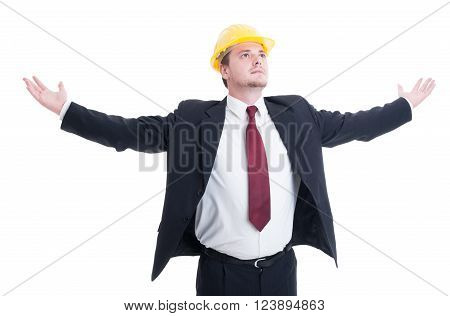 Engineer, Architect Or Contractor With Arms Outspread And Outstretched