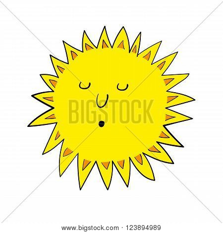 Stylized vector illustration of a bright yellow blazing sun with sun rays and relaxed facial features